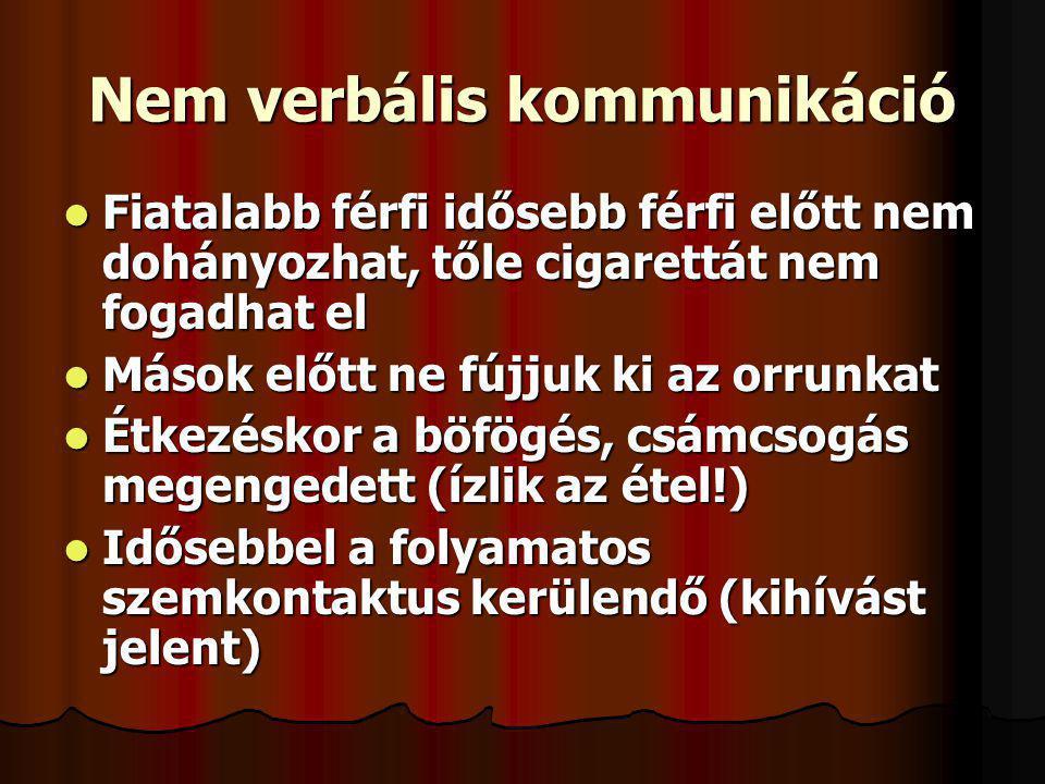 Nem verbális kommunikáció Fiatalabb férfi idősebb férfi előtt nem dohányozhat, tőle cigarettát nem fogadhat el Fiatalabb férfi idősebb férfi előtt nem