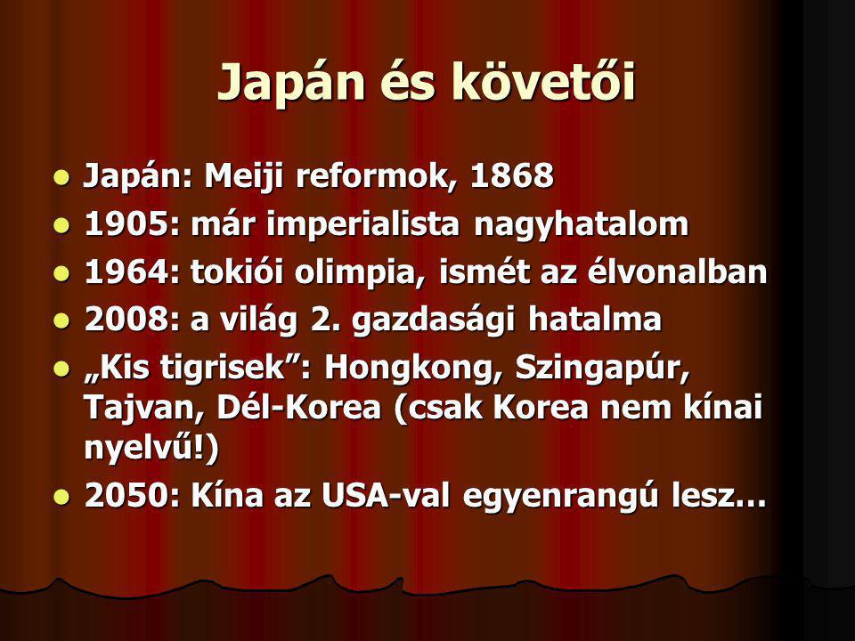 Japán és követői Japán: Meiji reformok, 1868 Japán: Meiji reformok, 1868 1905: már imperialista nagyhatalom 1905: már imperialista nagyhatalom 1964: t