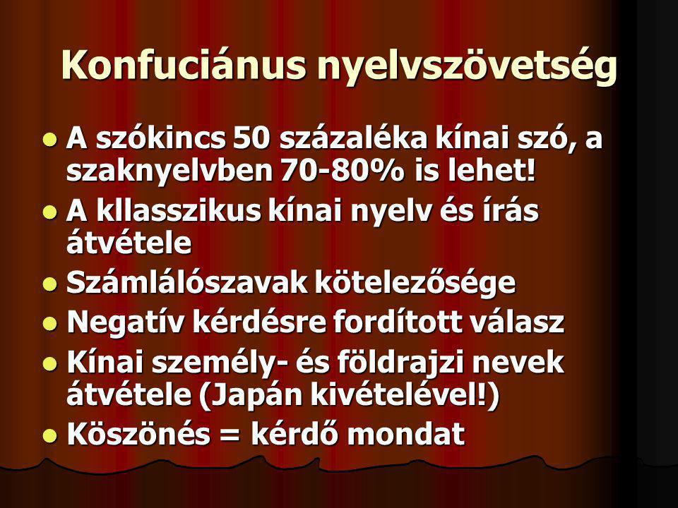 Konfuciánus nyelvszövetség A szókincs 50 százaléka kínai szó, a szaknyelvben 70-80% is lehet! A szókincs 50 százaléka kínai szó, a szaknyelvben 70-80%