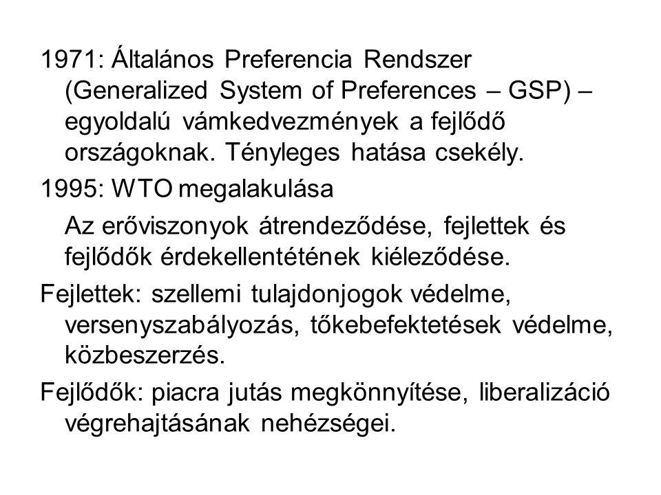 1971: Általános Preferencia Rendszer (Generalized System of Preferences – GSP) – egyoldalú vámkedvezmények a fejlődő országoknak. Tényleges hatása cse