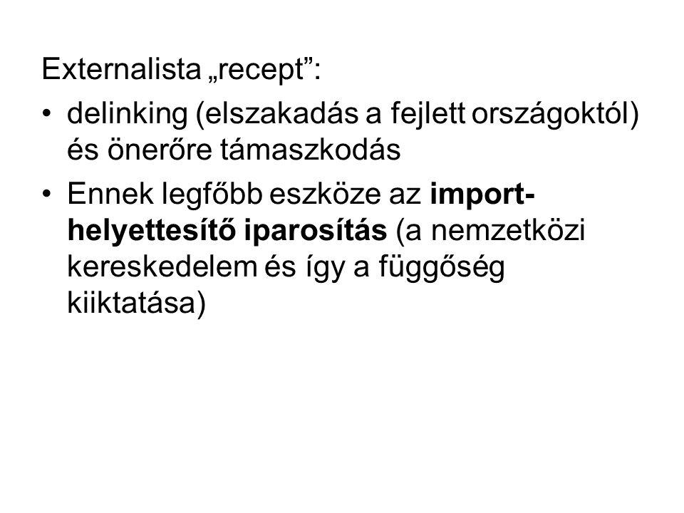 """Externalista """"recept"""": delinking (elszakadás a fejlett országoktól) és önerőre támaszkodás Ennek legfőbb eszköze az import- helyettesítő iparosítás (a"""