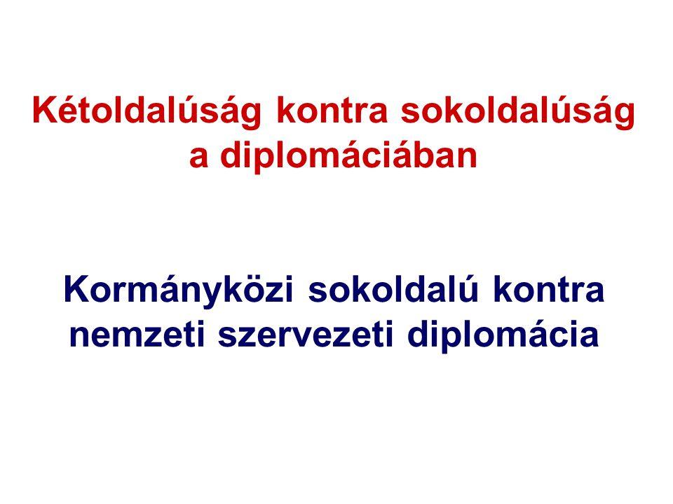 Kétoldalúság kontra sokoldalúság a diplomáciában Kormányközi sokoldalú kontra nemzeti szervezeti diplomácia