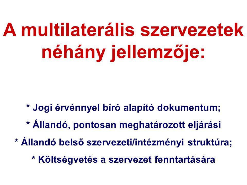 A multilaterális szervezetek néhány jellemzője: * Jogi érvénnyel bíró alapító dokumentum; * Állandó, pontosan meghatározott eljárási * Állandó belső szervezeti/intézményi struktúra; * Költségvetés a szervezet fenntartására