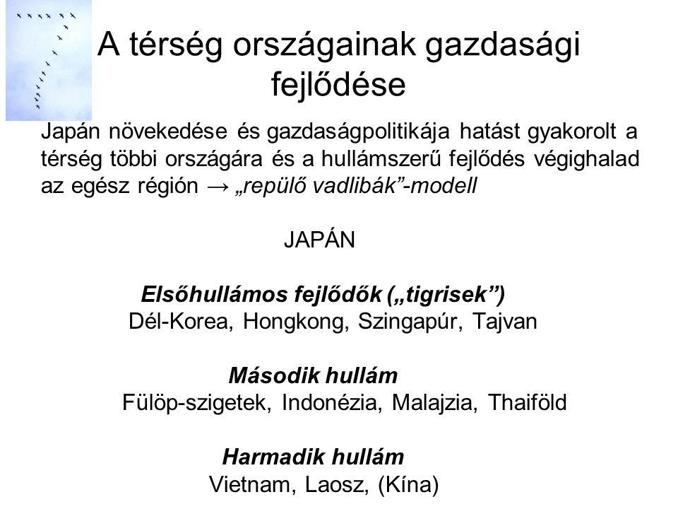 """Japán növekedése és gazdaságpolitikája hatást gyakorolt a térség többi országára és a hullámszerű fejlődés végighalad az egész régión → """"repülő vadlibák -modell JAPÁN Elsőhullámos fejlődők (""""tigrisek ) Dél-Korea, Hongkong, Szingapúr, Tajvan Második hullám Fülöp-szigetek, Indonézia, Malajzia, Thaiföld Harmadik hullám Vietnam, Laosz, (Kína) A térség országainak gazdasági fejlődése"""