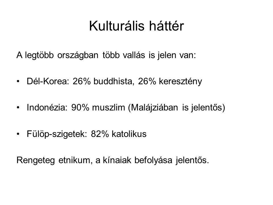 Kulturális háttér A legtöbb országban több vallás is jelen van: Dél-Korea: 26% buddhista, 26% keresztény Indonézia: 90% muszlim (Malájziában is jelentős) Fülöp-szigetek: 82% katolikus Rengeteg etnikum, a kínaiak befolyása jelentős.