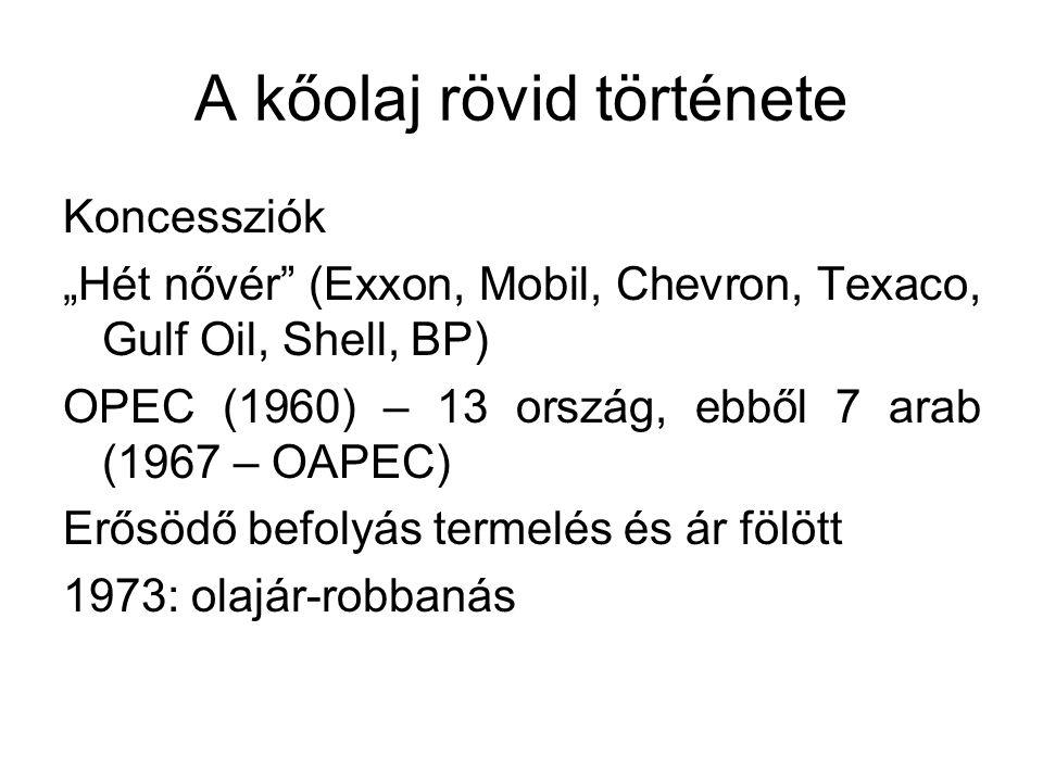 """A kőolaj rövid története Koncessziók """"Hét nővér (Exxon, Mobil, Chevron, Texaco, Gulf Oil, Shell, BP) OPEC (1960) – 13 ország, ebből 7 arab (1967 – OAPEC) Erősödő befolyás termelés és ár fölött 1973: olajár-robbanás"""