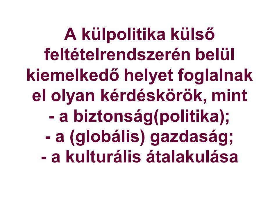 A külpolitika külső feltételrendszerén belül kiemelkedő helyet foglalnak el olyan kérdéskörök, mint - a biztonság(politika); - a (globális) gazdaság; - a kulturális átalakulása