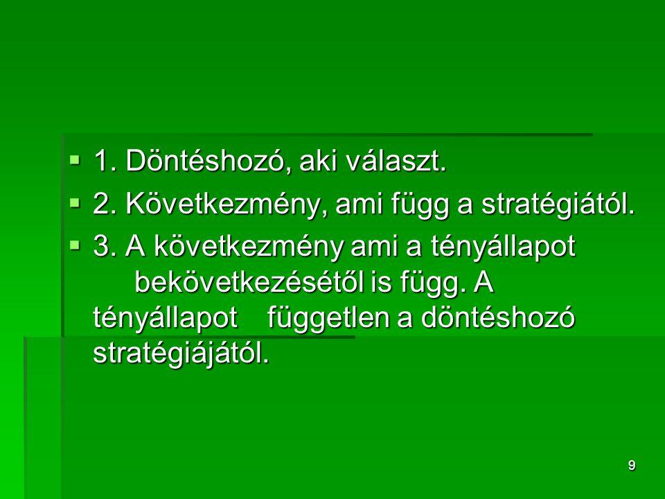 9  1. Döntéshozó, aki választ.  2. Következmény, ami függ a stratégiától.  3. A következmény ami a tényállapot bekövetkezésétől is függ. A tényálla