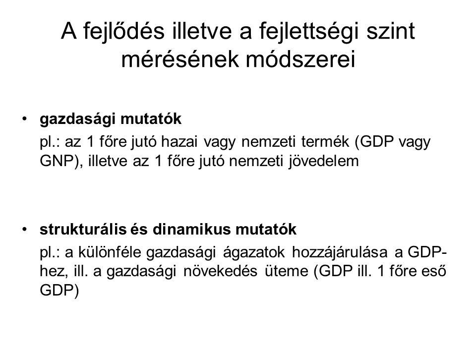 A fejlődés illetve a fejlettségi szint mérésének módszerei gazdasági mutatók pl.: az 1 főre jutó hazai vagy nemzeti termék (GDP vagy GNP), illetve az