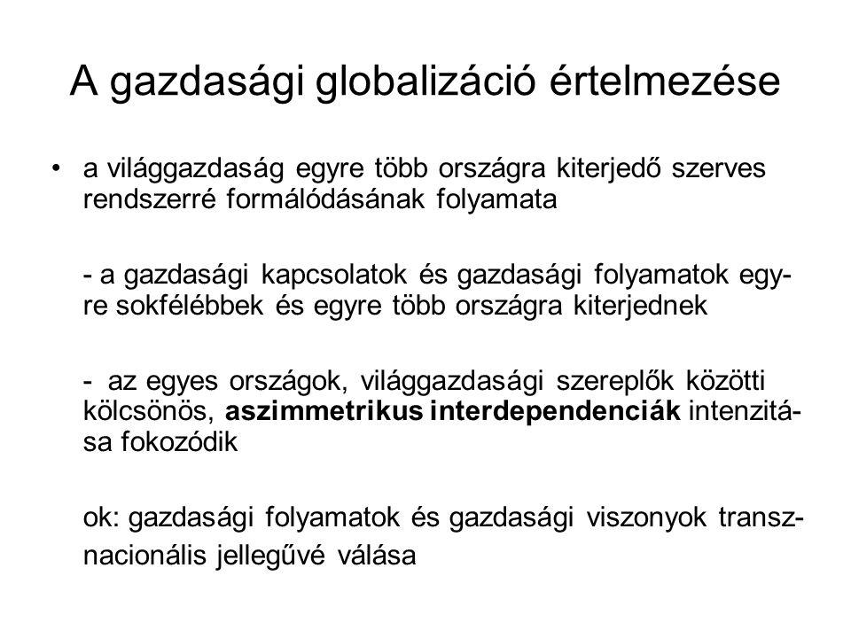 A gazdasági globalizáció értelmezése a világgazdaság egyre több országra kiterjedő szerves rendszerré formálódásának folyamata - a gazdasági kapcsolat
