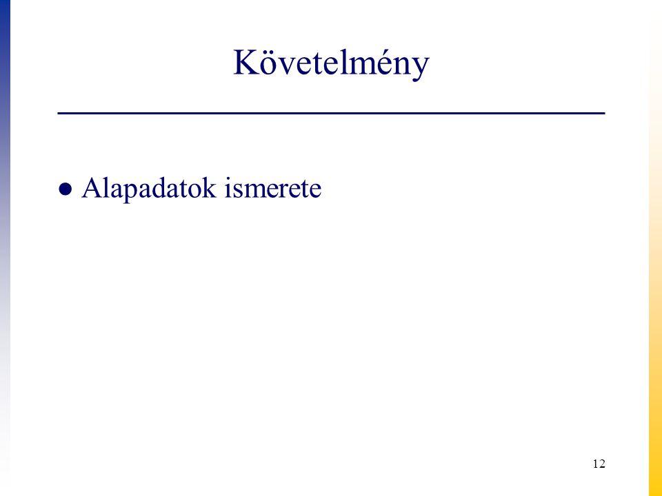 Követelmény ● Alapadatok ismerete 12