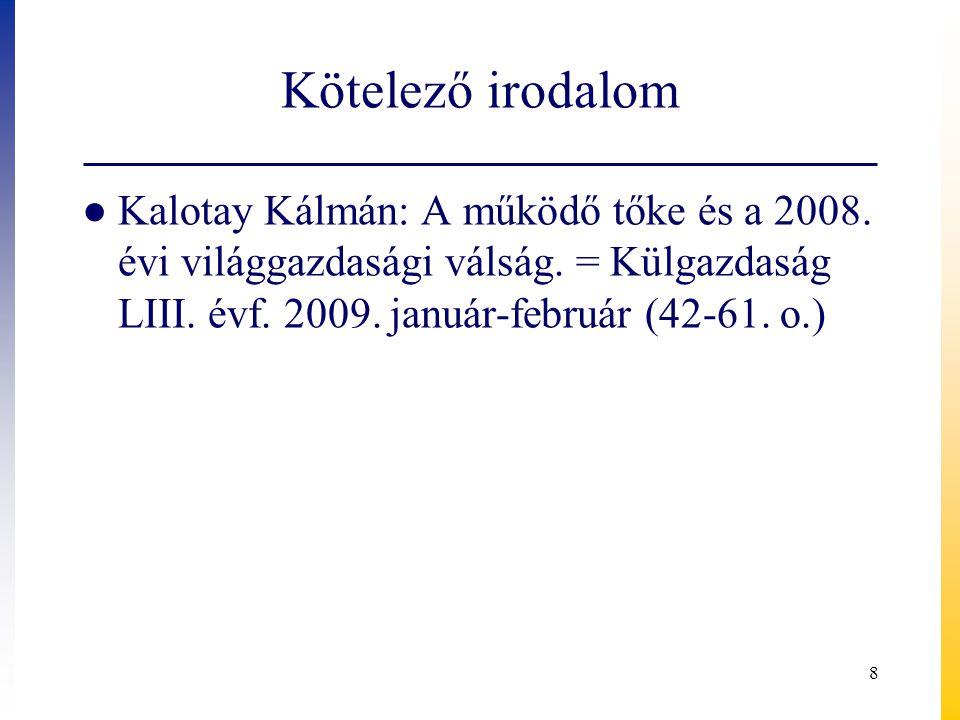 Kötelező irodalom ● Kalotay Kálmán: A működő tőke és a 2008.