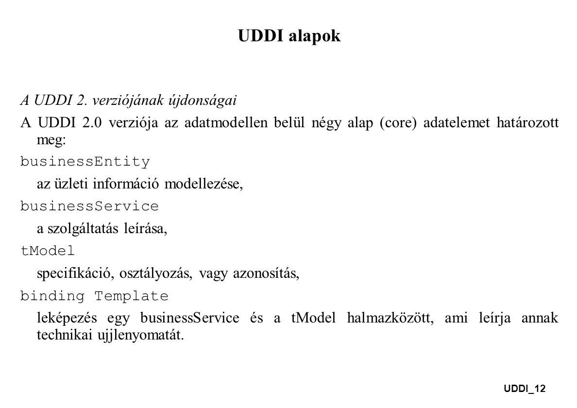 UDDI_12 UDDI alapok A UDDI 2. verziójának újdonságai A UDDI 2.0 verziója az adatmodellen belül négy alap (core) adatelemet határozott meg: businessEnt