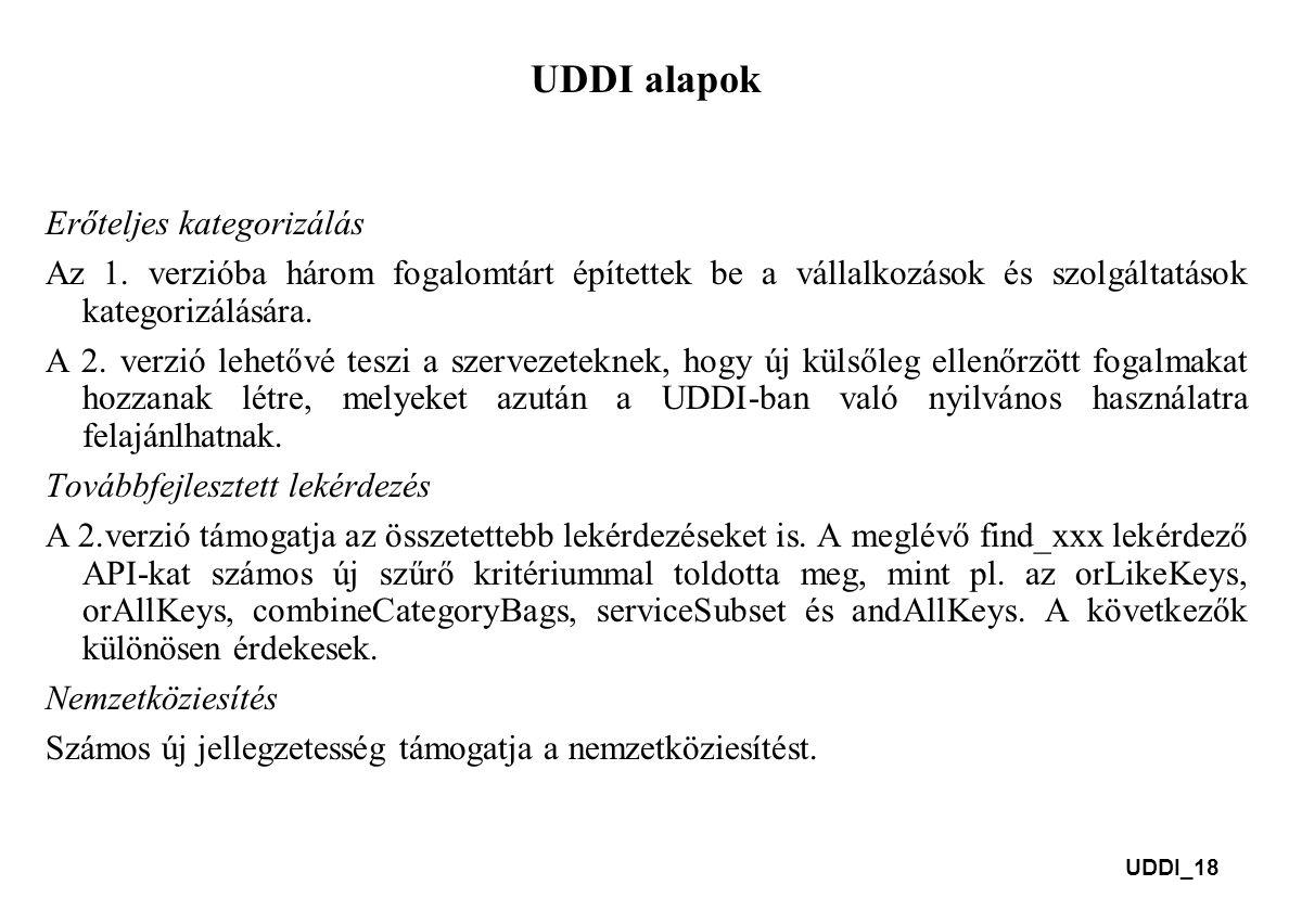 UDDI_18 UDDI alapok Erőteljes kategorizálás Az 1. verzióba három fogalomtárt építettek be a vállalkozások és szolgáltatások kategorizálására. A 2. ver