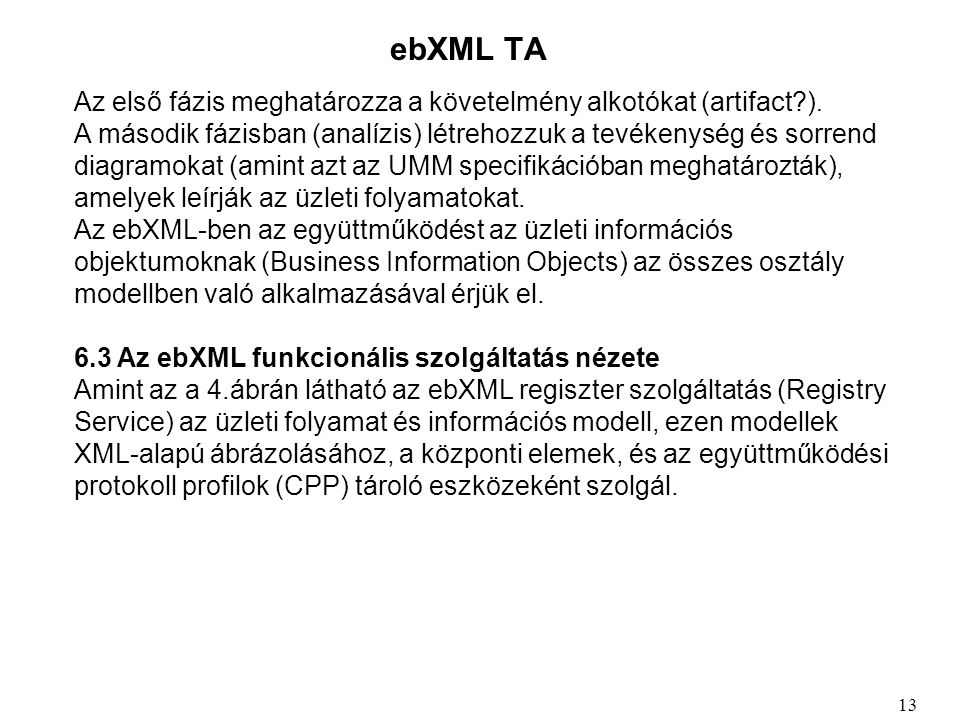 ebXML TA Az első fázis meghatározza a követelmény alkotókat (artifact ).