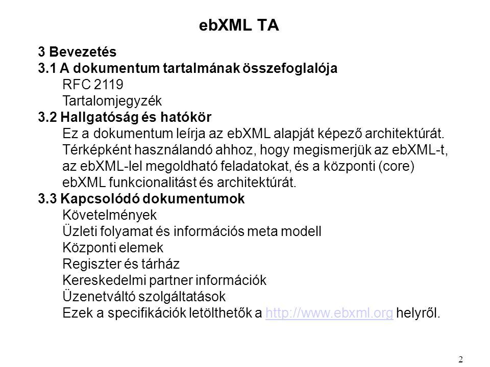 ebXML TA 3 Bevezetés 3.1 A dokumentum tartalmának összefoglalója RFC 2119 Tartalomjegyzék 3.2 Hallgatóság és hatókör Ez a dokumentum leírja az ebXML alapját képező architektúrát.