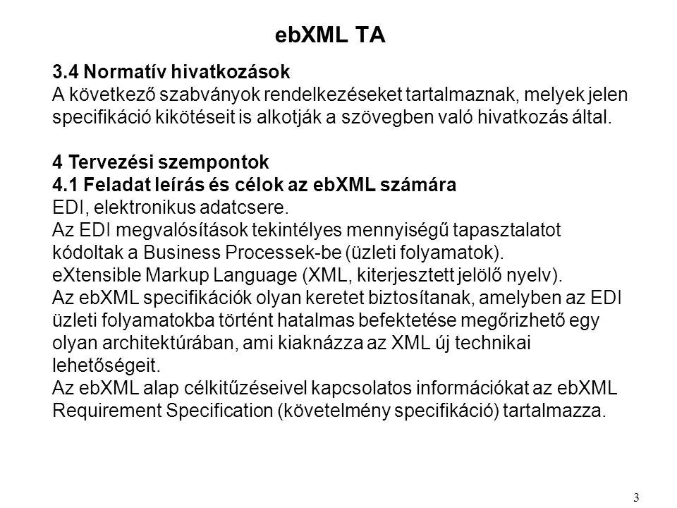 ebXML TA 3.4 Normatív hivatkozások A következő szabványok rendelkezéseket tartalmaznak, melyek jelen specifikáció kikötéseit is alkotják a szövegben való hivatkozás által.