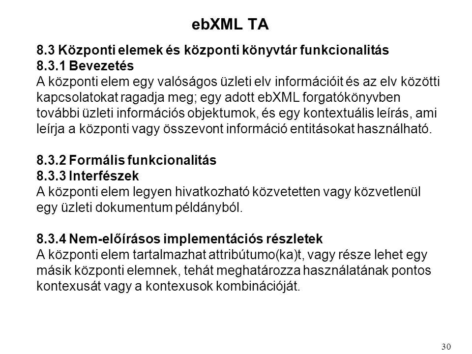 ebXML TA 8.3 Központi elemek és központi könyvtár funkcionalitás 8.3.1 Bevezetés A központi elem egy valóságos üzleti elv információit és az elv közötti kapcsolatokat ragadja meg; egy adott ebXML forgatókönyvben további üzleti információs objektumok, és egy kontextuális leírás, ami leírja a központi vagy összevont információ entitásokat használható.