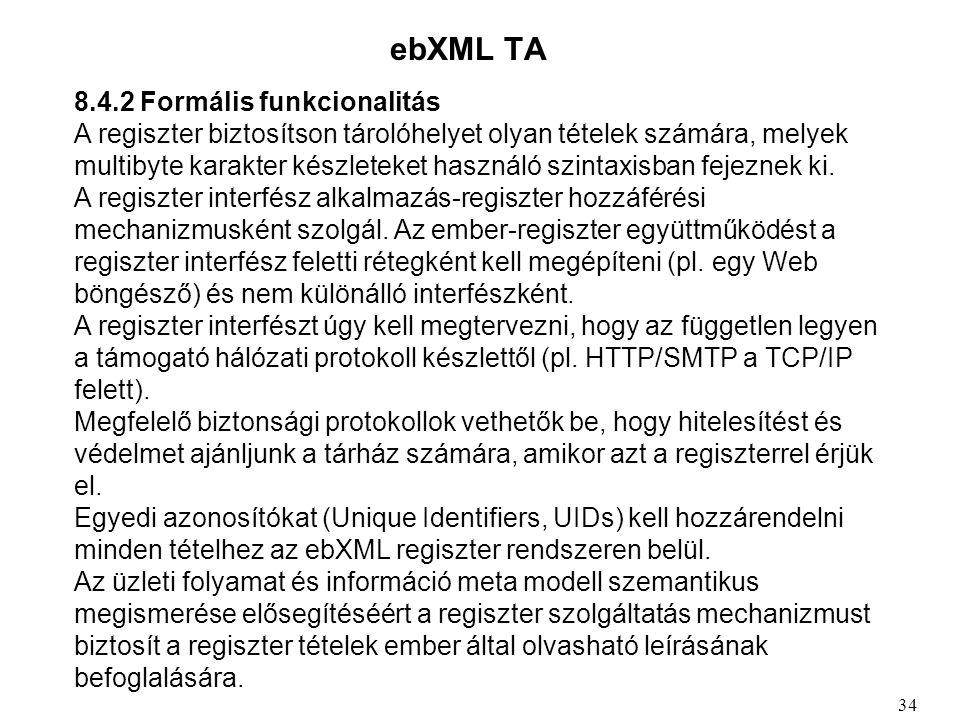 ebXML TA 8.4.2 Formális funkcionalitás A regiszter biztosítson tárolóhelyet olyan tételek számára, melyek multibyte karakter készleteket használó szintaxisban fejeznek ki.
