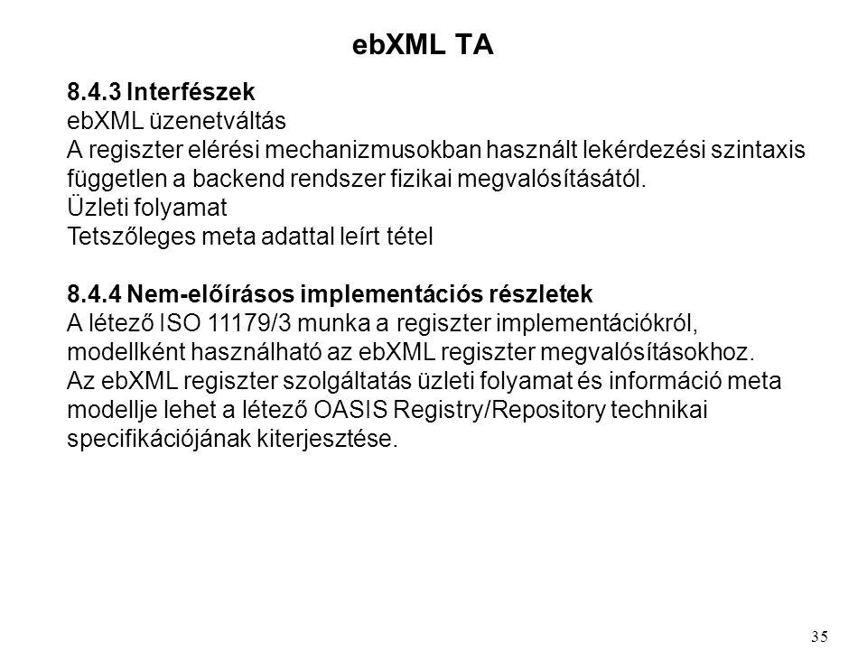 ebXML TA 8.4.3 Interfészek ebXML üzenetváltás A regiszter elérési mechanizmusokban használt lekérdezési szintaxis független a backend rendszer fizikai megvalósításától.