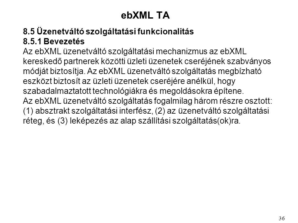 ebXML TA 8.5 Üzenetváltó szolgáltatási funkcionalitás 8.5.1 Bevezetés Az ebXML üzenetváltó szolgáltatási mechanizmus az ebXML kereskedő partnerek közötti üzleti üzenetek cseréjének szabványos módját biztosítja.