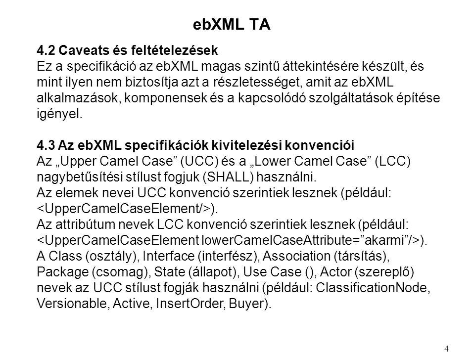 ebXML TA 4.2 Caveats és feltételezések Ez a specifikáció az ebXML magas szintű áttekintésére készült, és mint ilyen nem biztosítja azt a részletességet, amit az ebXML alkalmazások, komponensek és a kapcsolódó szolgáltatások építése igényel.