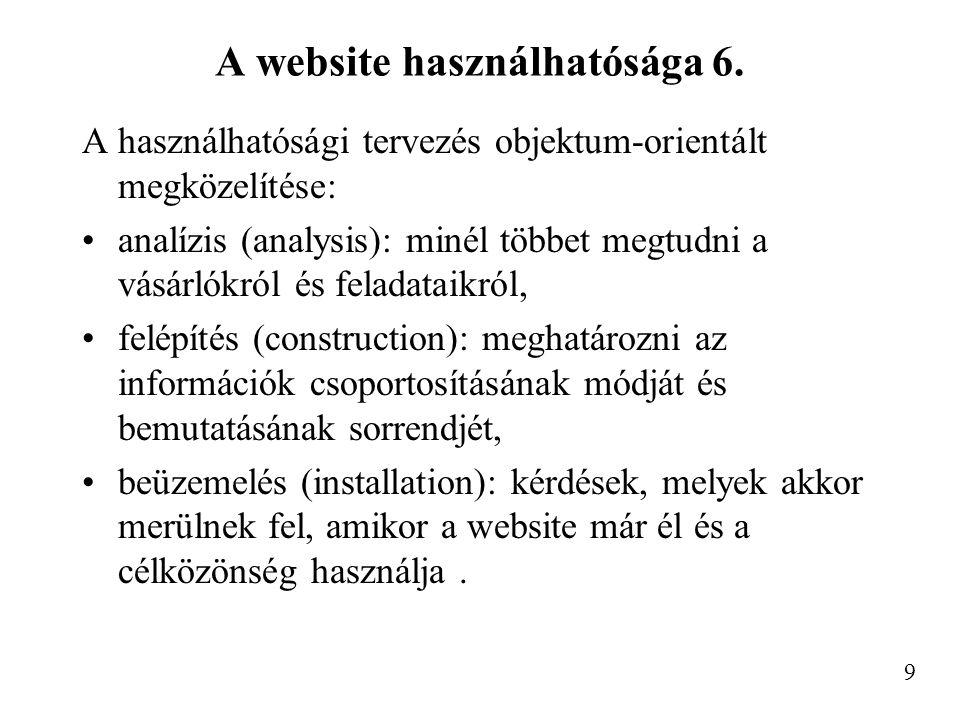 A website használhatósága 7.Minőségi-mennyiségi célok.