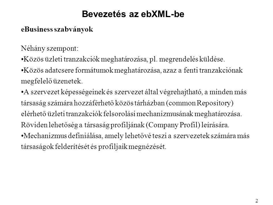 Bevezetés az ebXML-be eBusiness szabványok Néhány szempont: Közös üzleti tranzakciók meghatározása, pl. megrendelés küldése. Közös adatcsere formátumo