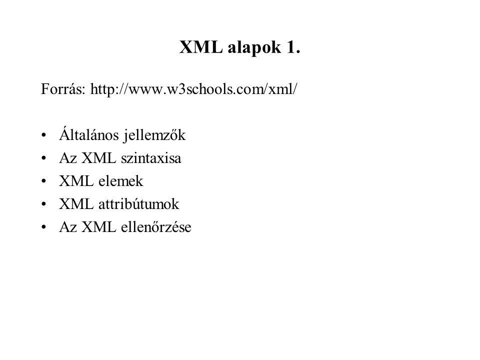 XML alapok 1.
