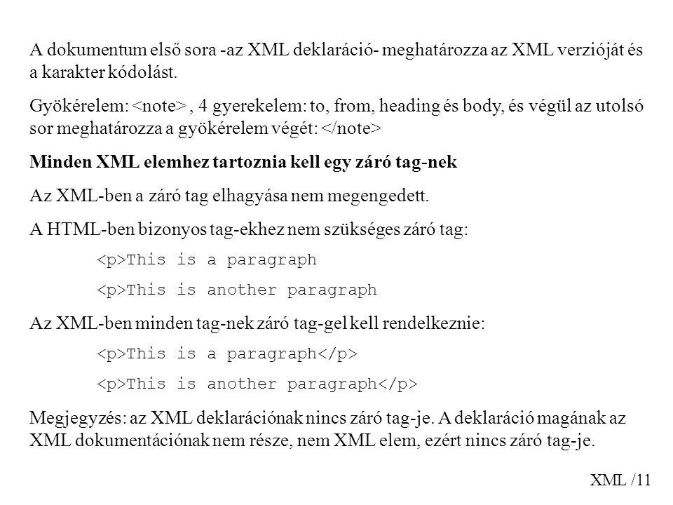 XML /11 A dokumentum első sora -az XML deklaráció- meghatározza az XML verzióját és a karakter kódolást.