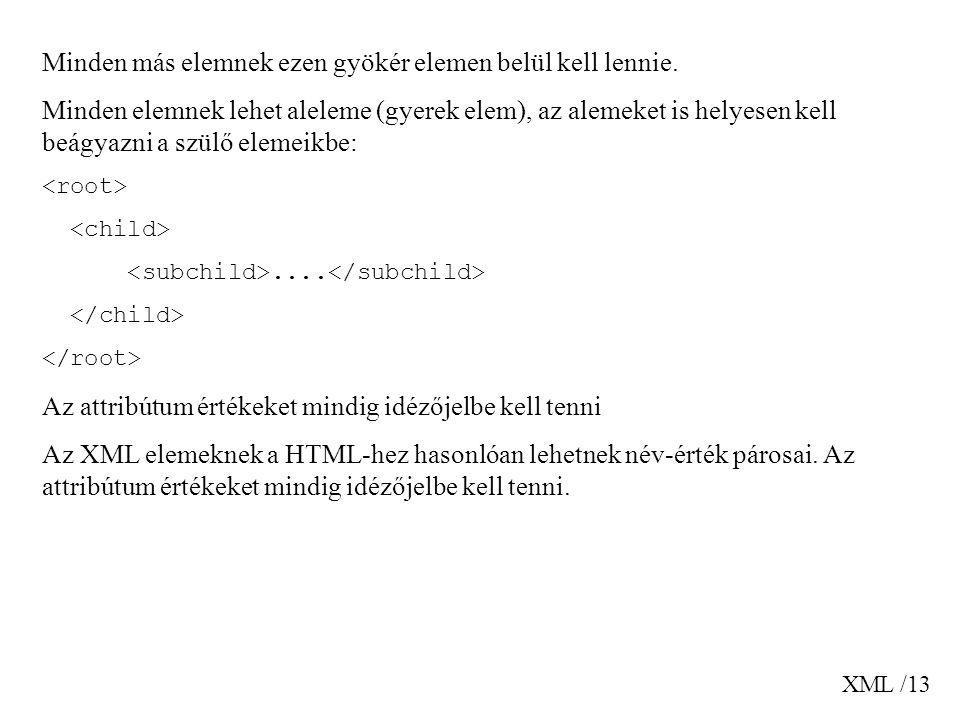 XML /13 Minden más elemnek ezen gyökér elemen belül kell lennie.