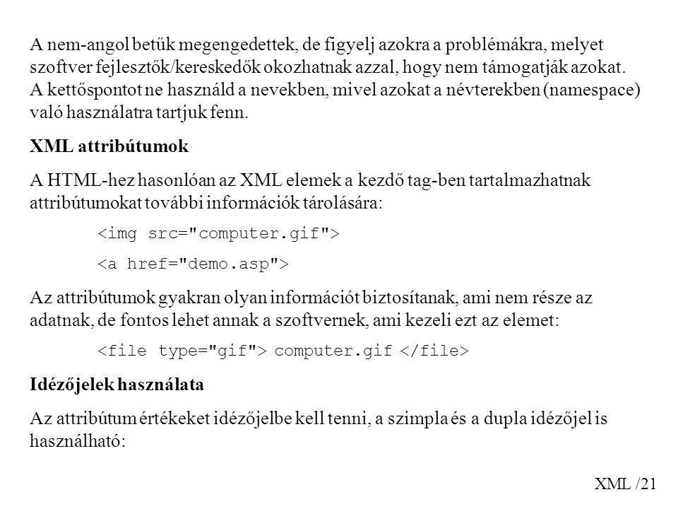 XML /21 A nem-angol betűk megengedettek, de figyelj azokra a problémákra, melyet szoftver fejlesztők/kereskedők okozhatnak azzal, hogy nem támogatják azokat.