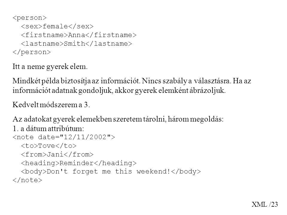 XML /23 female Anna Smith Itt a neme gyerek elem. Mindkét példa biztosítja az információt.