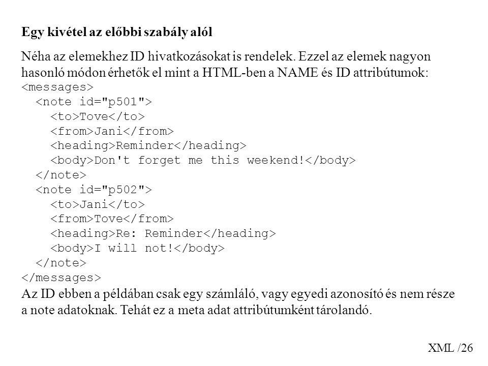 XML /26 Egy kivétel az előbbi szabály alól Néha az elemekhez ID hivatkozásokat is rendelek.