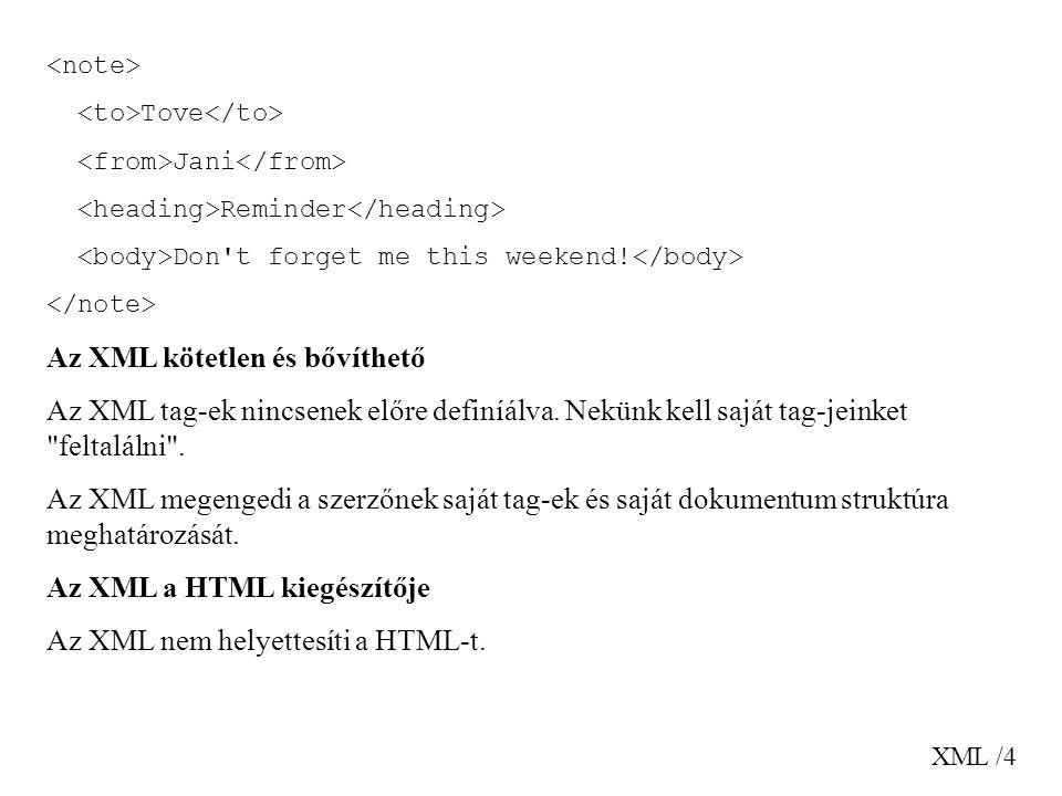 XML /15 Az XML-ben a white space karakterek megőrződnek Az XML a HTML-től eltérően, ami csonkítja a fehér karaktereket (helyköz, tabulátor), nem vágja le azokat.