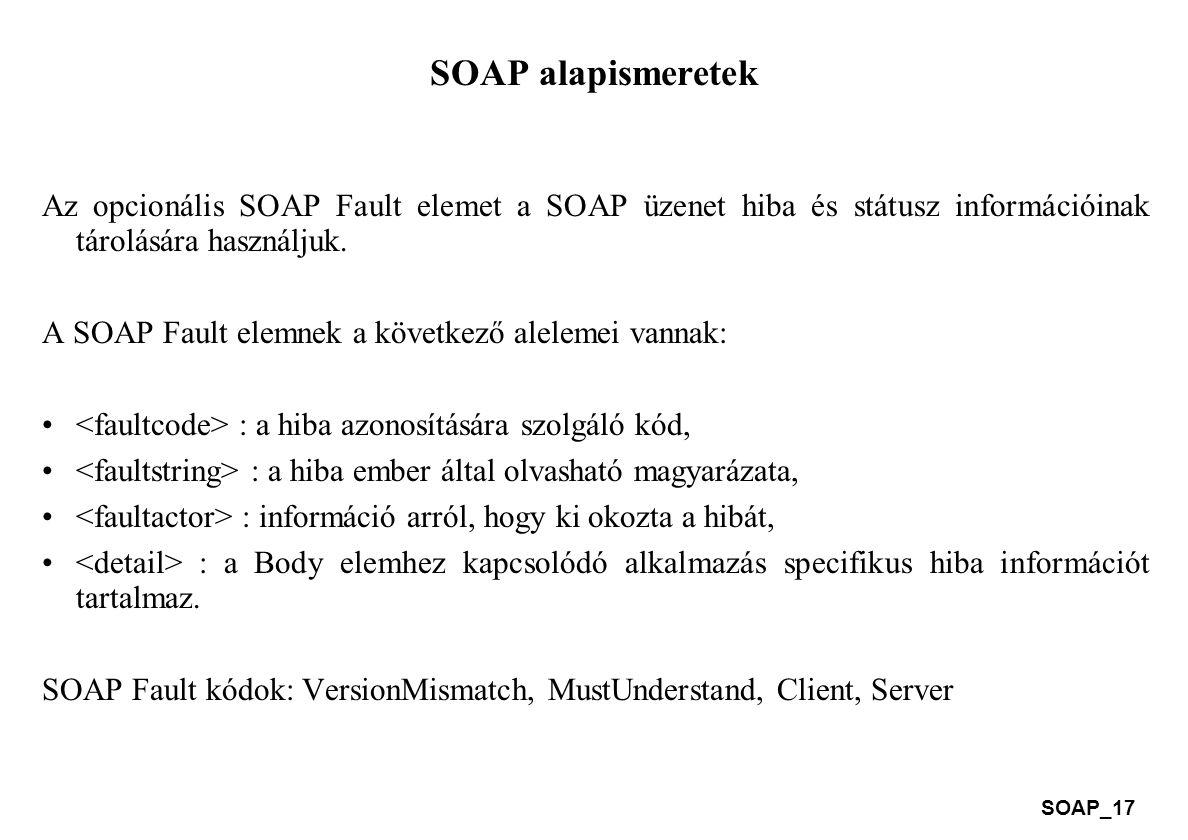 SOAP_17 SOAP alapismeretek Az opcionális SOAP Fault elemet a SOAP üzenet hiba és státusz információinak tárolására használjuk. A SOAP Fault elemnek a