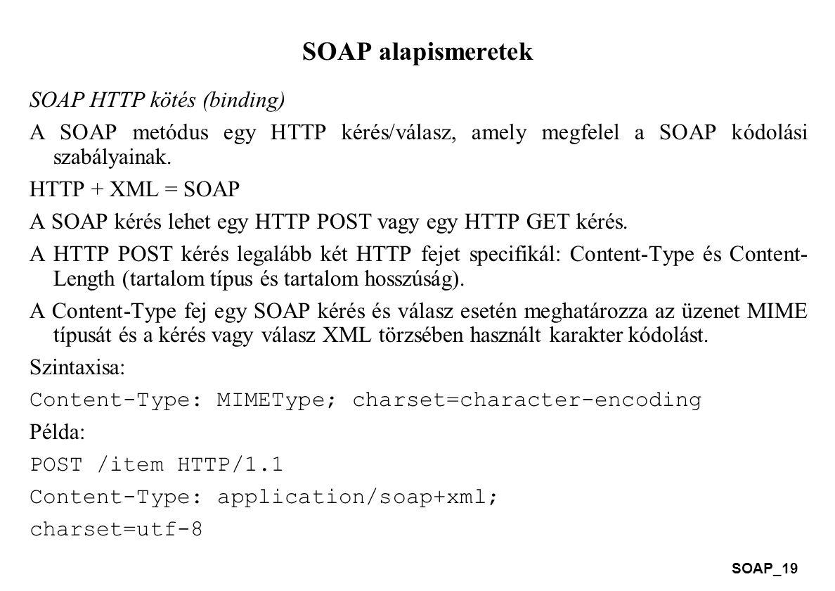 SOAP_19 SOAP alapismeretek SOAP HTTP kötés (binding) A SOAP metódus egy HTTP kérés/válasz, amely megfelel a SOAP kódolási szabályainak. HTTP + XML = S