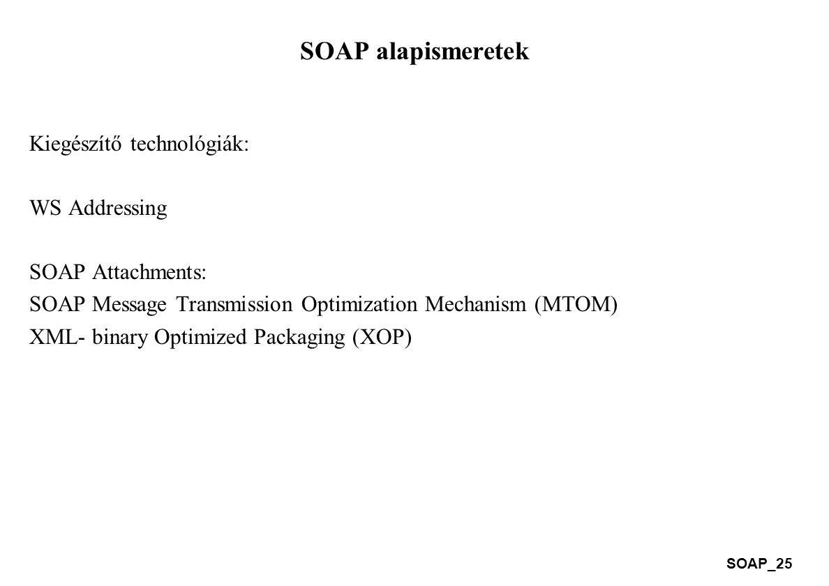 SOAP_25 SOAP alapismeretek Kiegészítő technológiák: WS Addressing SOAP Attachments: SOAP Message Transmission Optimization Mechanism (MTOM) XML- binar