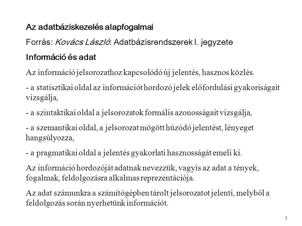Az adatbáziskezelés alapfogalmai Forrás: Kovács László: Adatbázisrendszerek I.