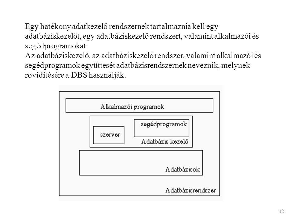 Egy hatékony adatkezelő rendszernek tartalmaznia kell egy adatbáziskezelőt, egy adatbáziskezelő rendszert, valamint alkalmazói és segédprogramokat Az adatbáziskezelő, az adatbáziskezelő rendszer, valamint alkalmazói és segédprogramok együttesét adatbázisrendszernek neveznik, melynek rövidítésére a DBS használják.