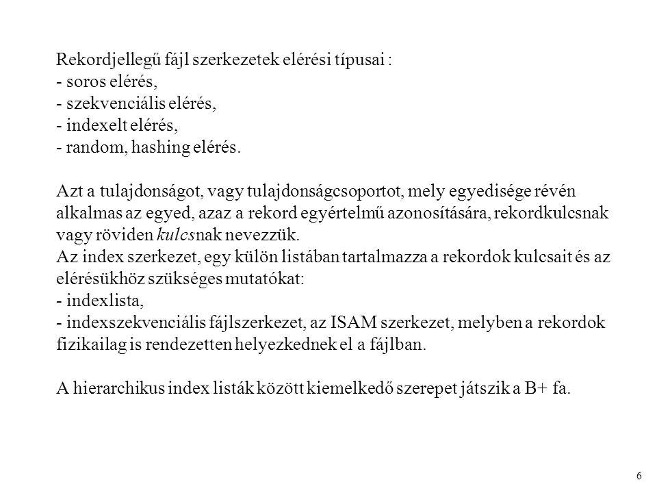 A Bayer fa szerkezet (B+ fa): 7