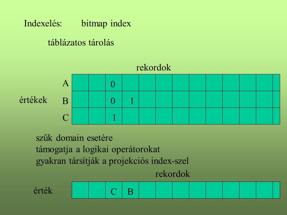 Indexelés:bitmap index értékek A B C rekordok 0 1 szűk domain esetére támogatja a logikai operátorokat gyakran társítják a projekciós index-szel C rek
