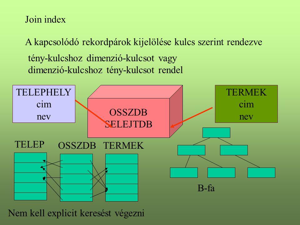 Join index A kapcsolódó rekordpárok kijelölése kulcs szerint rendezve Nem kell explicit keresést végezni TELEPHELY cim nev TERMEK cim nev OSSZDB SELEJ