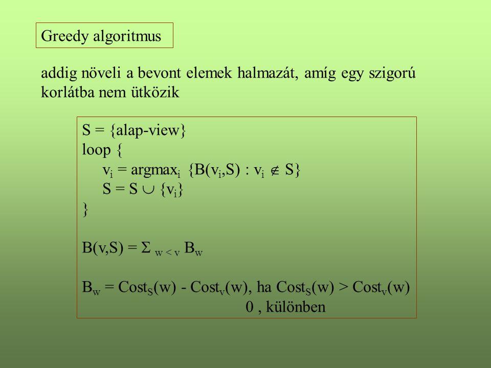 Greedy algoritmus addig növeli a bevont elemek halmazát, amíg egy szigorú korlátba nem ütközik S = {alap-view} loop { v i = argmax i {B(v i,S) : v i 