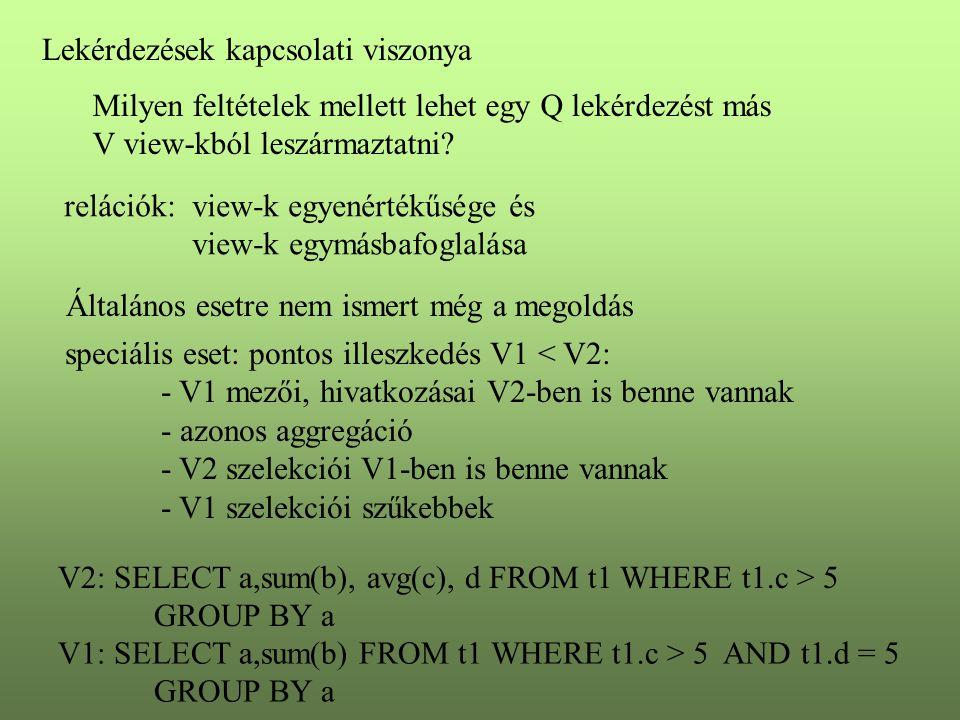 Lekérdezések kapcsolati viszonya Milyen feltételek mellett lehet egy Q lekérdezést más V view-kból leszármaztatni? relációk: view-k egyenértékűsége és