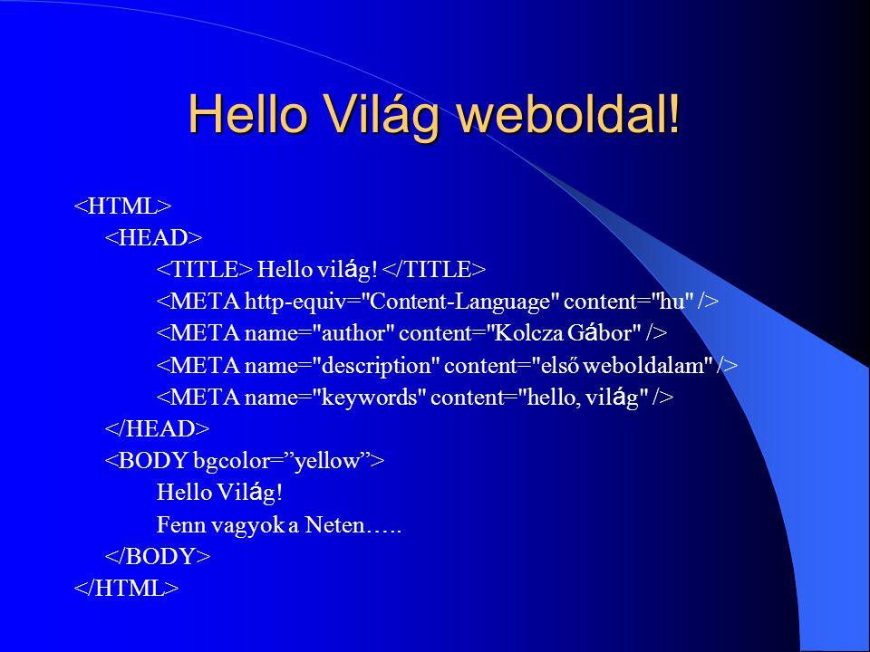 Hello Világ weboldal! Hello vil á g! Hello Vil á g! Fenn vagyok a Neten …..