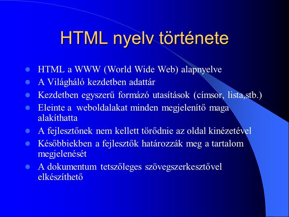 HTML nyelv története HTML a WWW (World Wide Web) alapnyelve A Világháló kezdetben adattár Kezdetben egyszerű formázó utasítások (címsor, lista,stb.) E