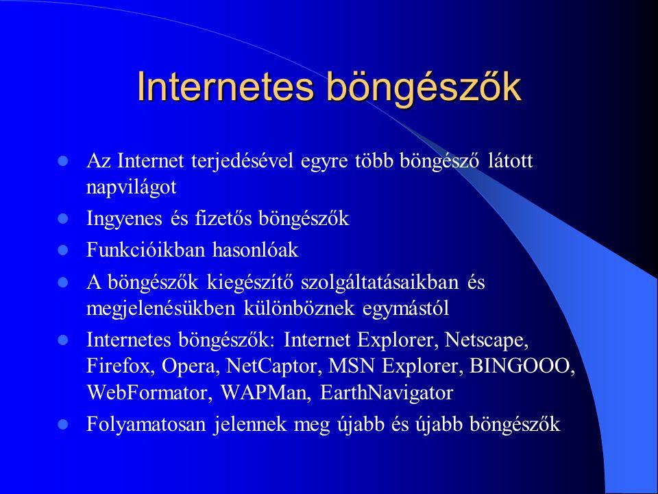 Internetes böngészők Az Internet terjedésével egyre több böngésző látott napvilágot Ingyenes és fizetős böngészők Funkcióikban hasonlóak A böngészők k