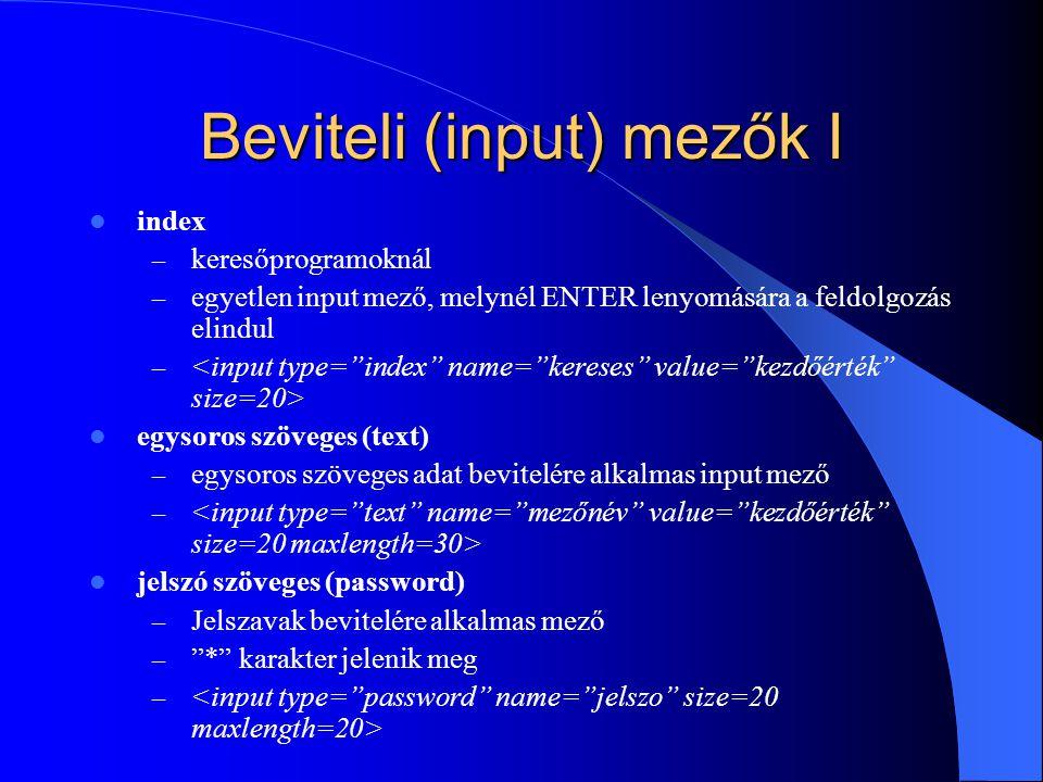 Beviteli (input) mezők I index – keresőprogramoknál – egyetlen input mező, melynél ENTER lenyomására a feldolgozás elindul – egysoros szöveges (text)