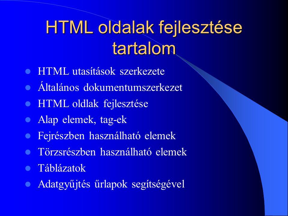 HTML oldalak fejlesztése tartalom HTML utasítások szerkezete Általános dokumentumszerkezet HTML oldlak fejlesztése Alap elemek, tag-ek Fejrészben hasz